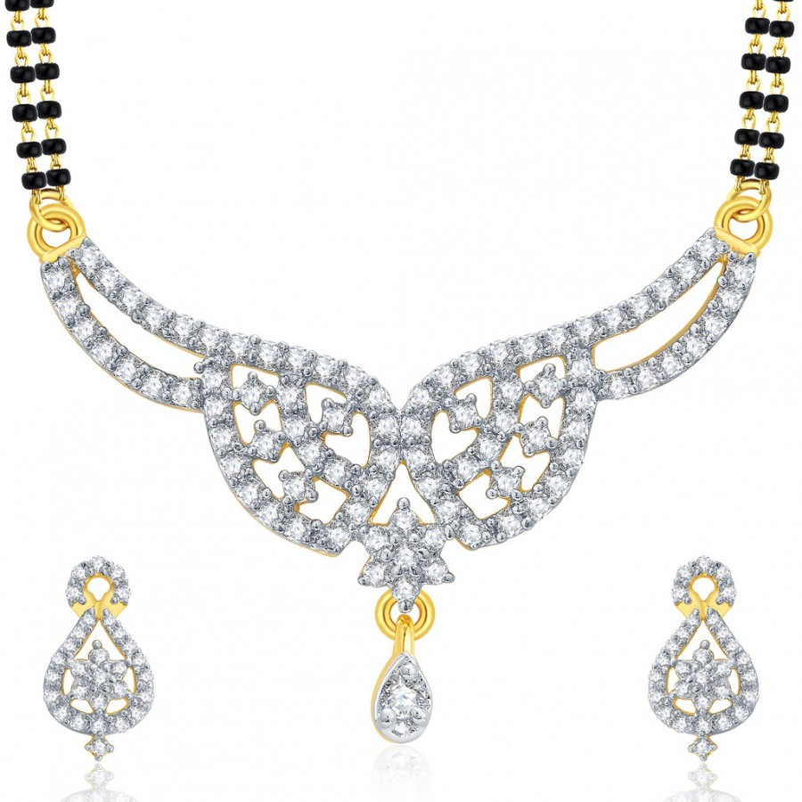 Buy Pissara Captivating Gold And Rhodium Plated CZ Mangalasutra Set For Women Online