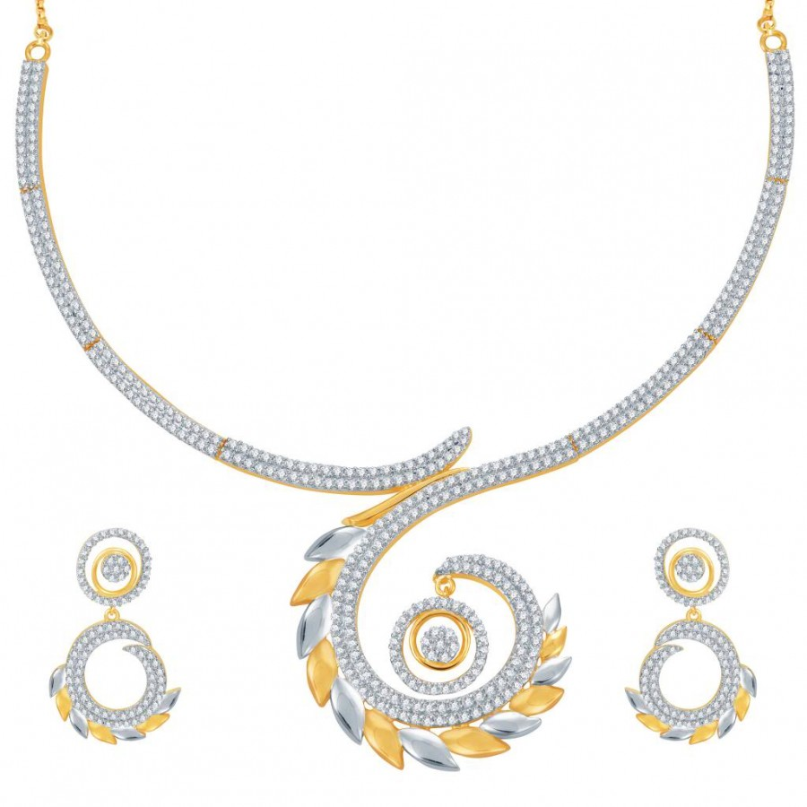Buy Pissara Marvellous Gold and Rhodium Plated CZ Necklace Set Online
