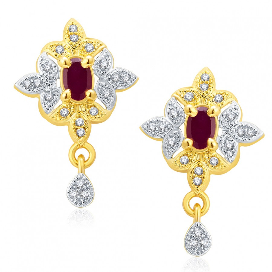 Buy Pissara Glamarous Gold And Rhodium Plated Ruby CZ Earrings For Women Online