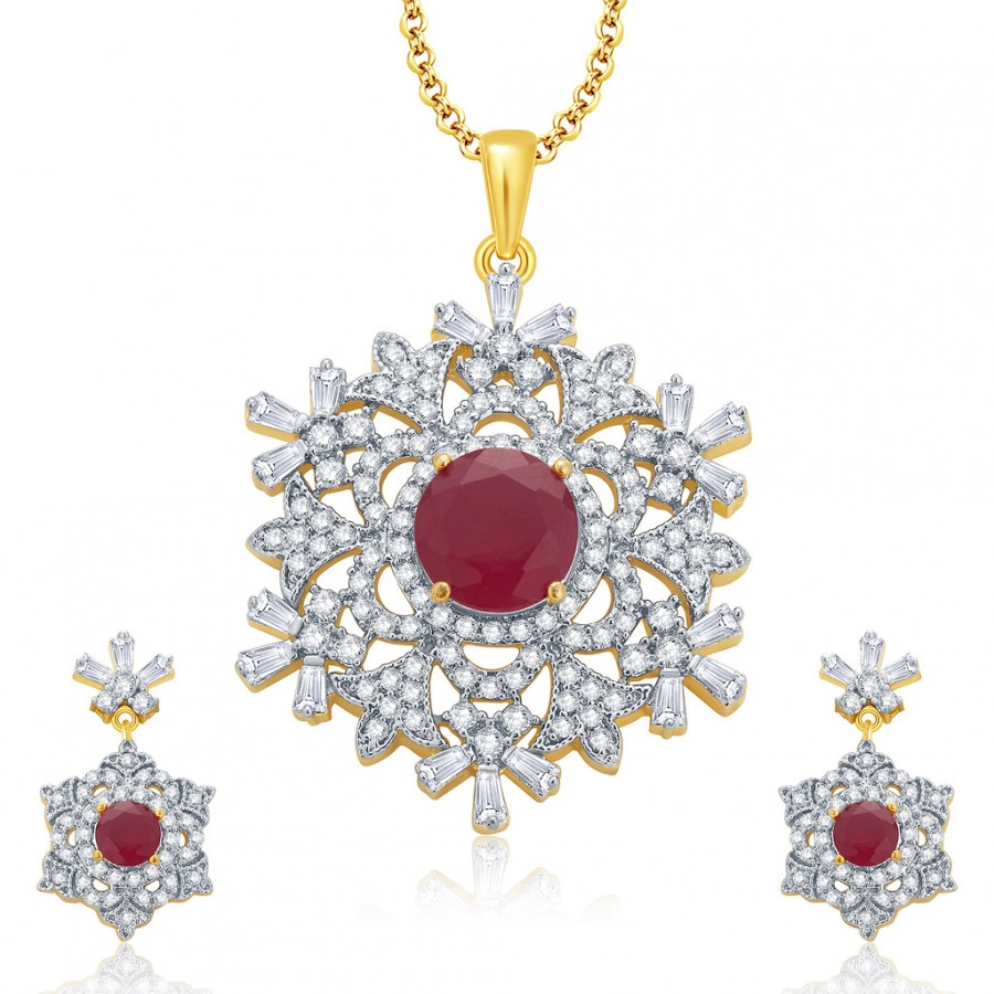 Buy Pissara Fascinating Gold And Rhodium Plated Ruby CZ Pendant Set For Women Online