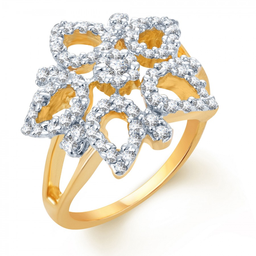 Buy Pissara Glistening Gold and Rhodium Plated CZ Ring Online