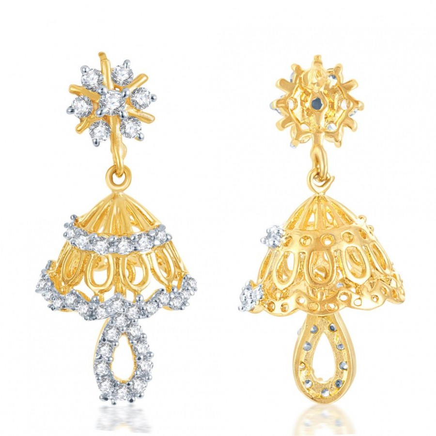 Buy Pissara Incredible Gold and Rhodium Plated CZ Jhumki Online