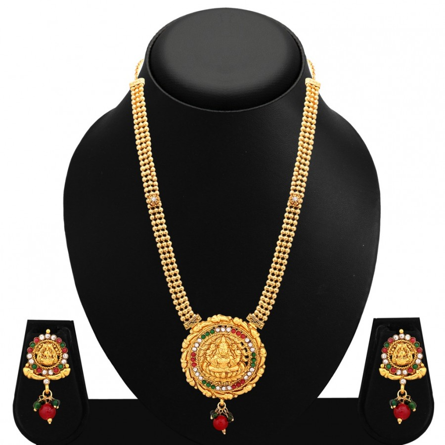 Buy Sukkhi Enchanting Gold Plated AD Temple Necklace Set For Women Online