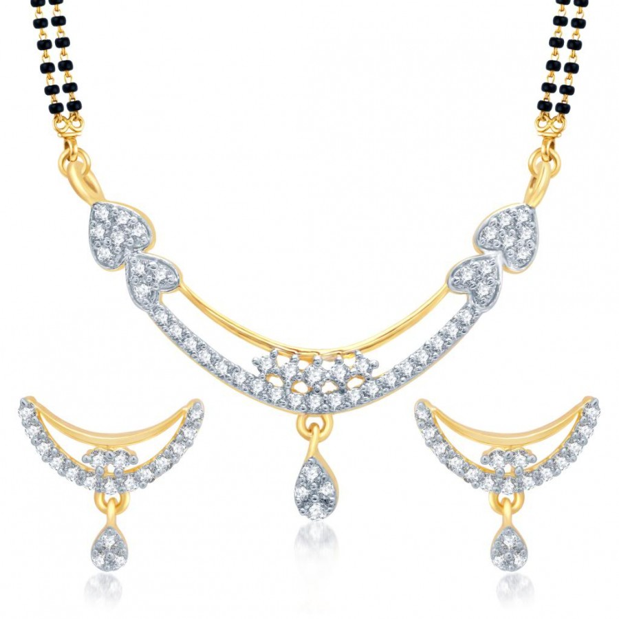 Buy Pissara Classy Gold and Rhodium Plated Cubic Zirconia Stone Studded Mangalsutra Set Online