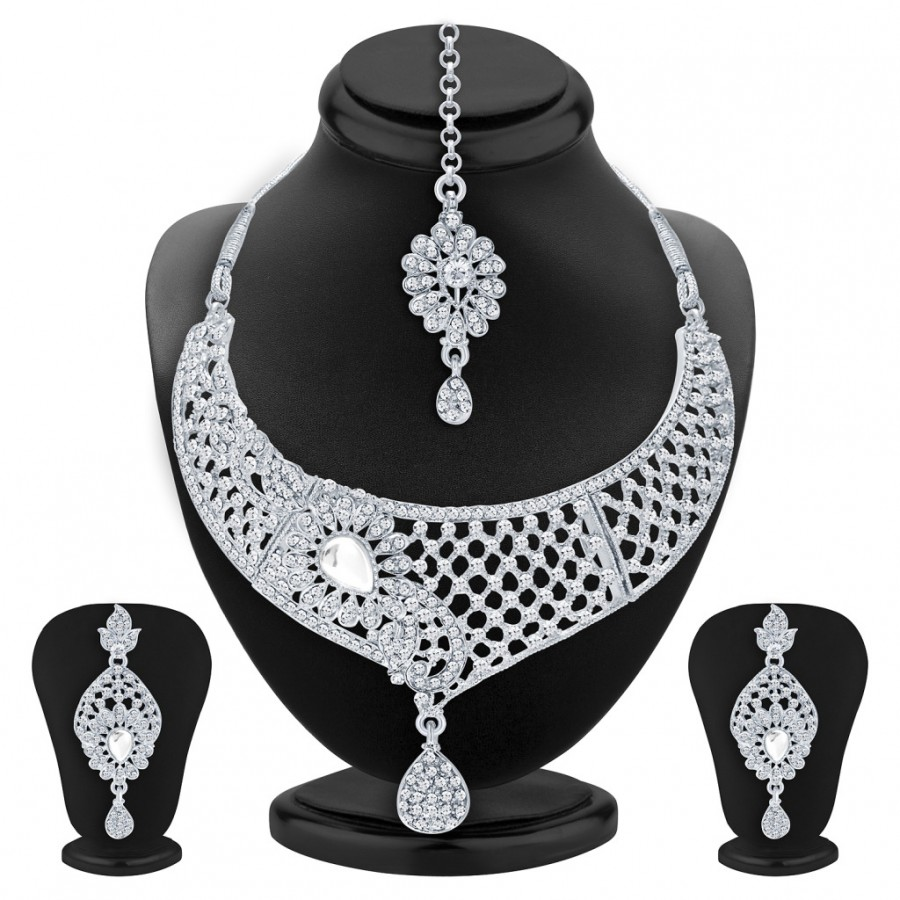 Buy Sukkhi Intricately Crafted Rhodium Plated AD Necklace Set For Women Online