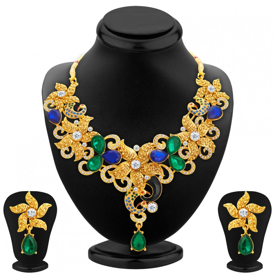 Buy Sukkhi Astonish Gold Plated AD Necklace Set For Women Online