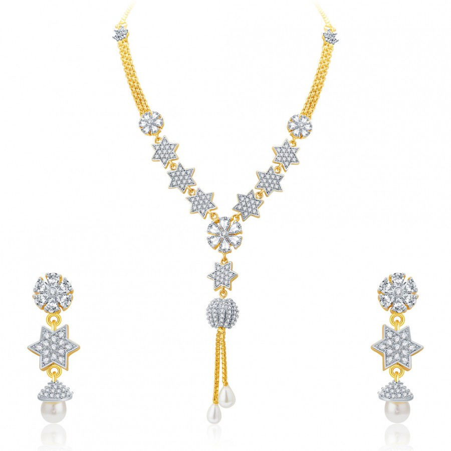 Buy Pissara Lavish Gold And Rhodium Plated CZ Neklace Set For Women Online