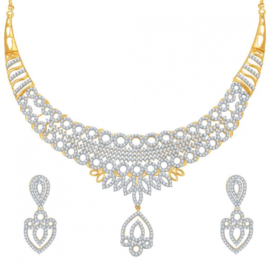 Buy Pissara Attractive Gold and Rhodium Plated CZ Necklace Set Online