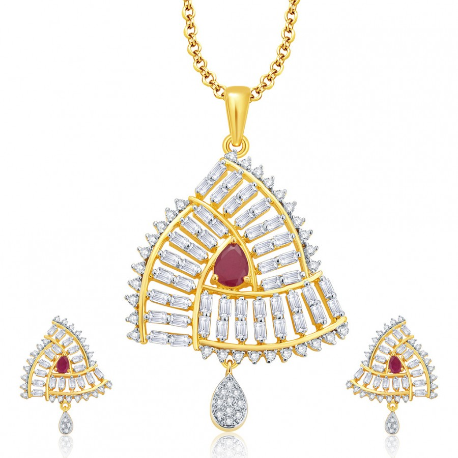 Buy Pissara Beguiling Gold And Rhodium Plated Ruby CZ Pendant Set For Women Online