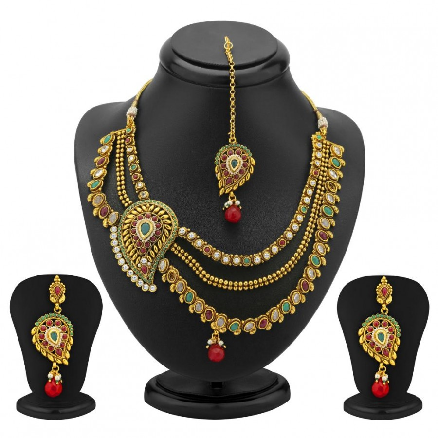 Buy Sukkhi 3 Strings One Sided Mango Design Gold Plated Antique Necklace Set Online