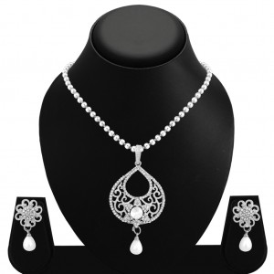 Buy Sukkhi Astonishing Rhodium Plated AD Pendant Set For Women Online