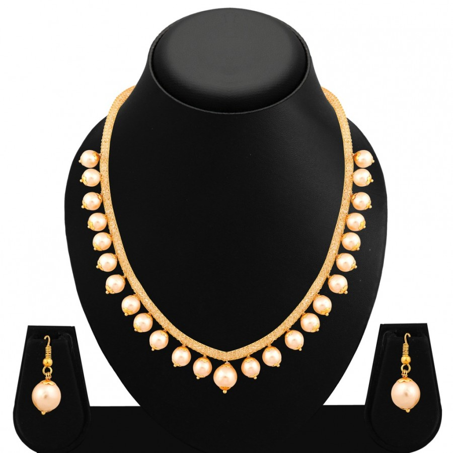 Buy Sukkhi Alluring Gold Plated Pearl Necklace Set For Women Online