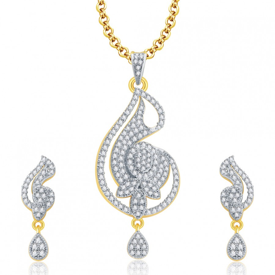 Buy Pissara Marvellous Gold And Rhodium Plated CZ Pendant Set For Women Online