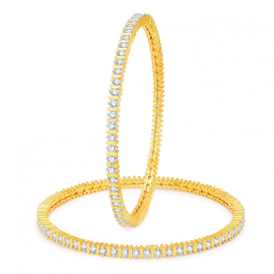 Buy Pissara Designer Gold and Rhodium Plated CZ Bangles Online
