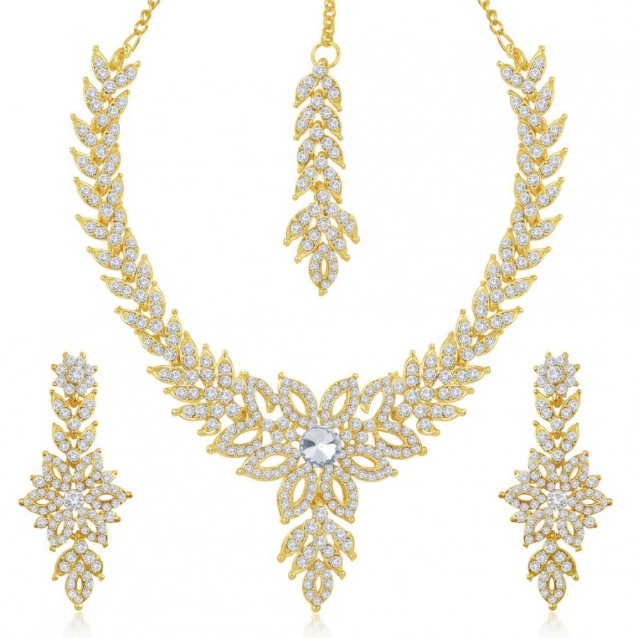 Buy Sukkhi Eye-Catchy Gold Plated Australian Diamond Stone Studded Necklace Set Online