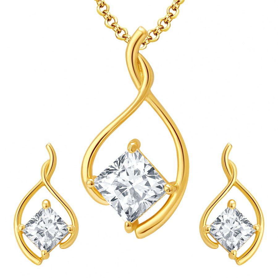Buy Pissara Glittering Gold Plated CZ Pendant Set For Women Online