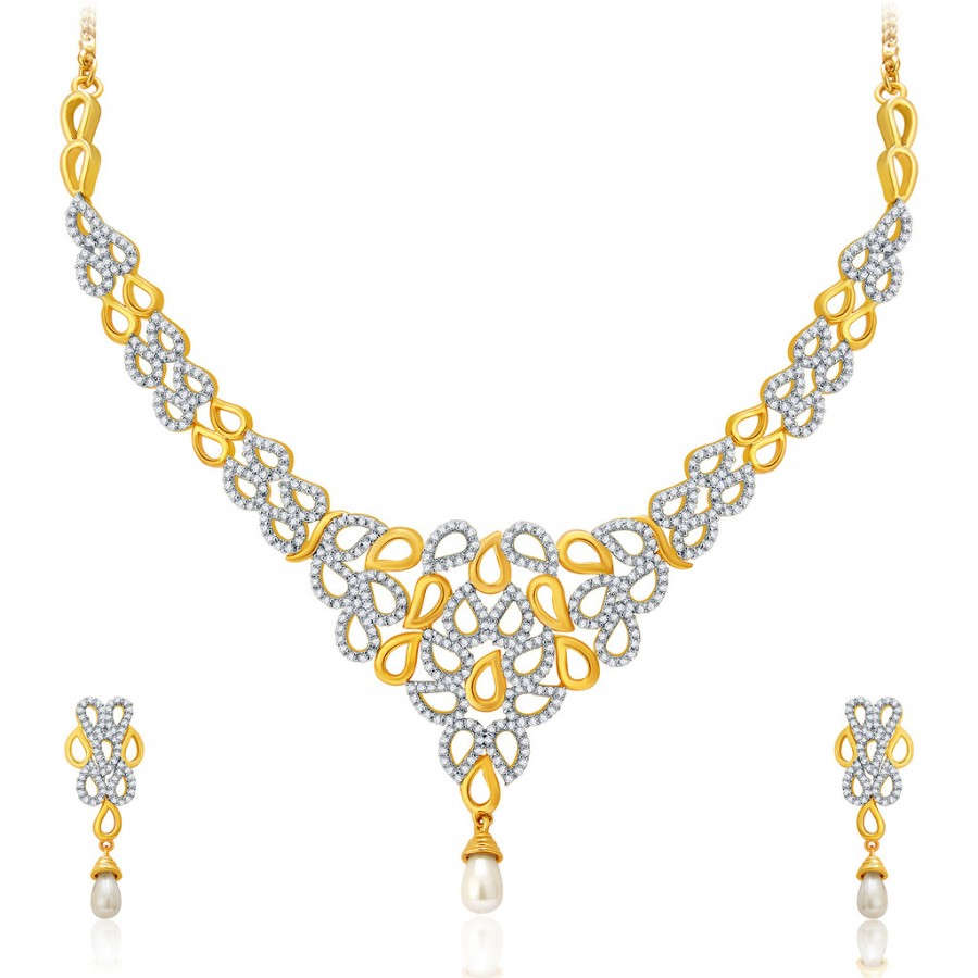 Buy Pissara Contemporary Gold And Rhodium Plated CZ Neklace Set For Women Online