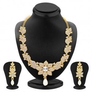 Buy Sukkhi Intricately Gold Plated AD Necklace Set For Women Online