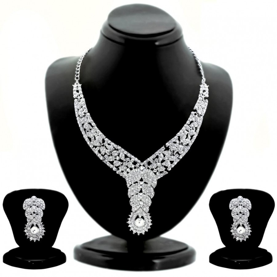 Buy Sukkhi Magnificent Rhodium plated AD Stone Studded Necklace Set Online