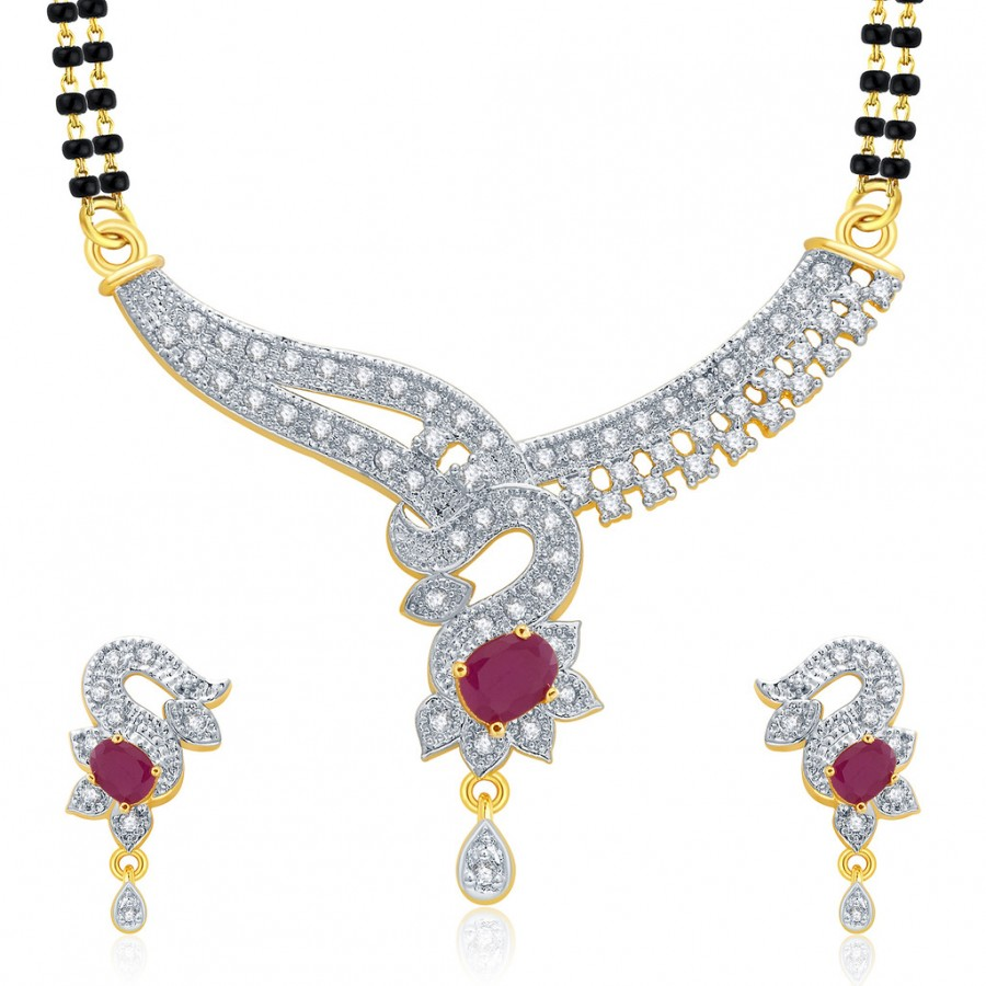 Buy Pissara Polished Gold And Rhodium Plated Ruby CZ Mangalasutra Set For Women Online