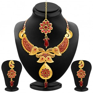 Buy Sukkhi Fabulous Gold Plated AD Necklace Set Online