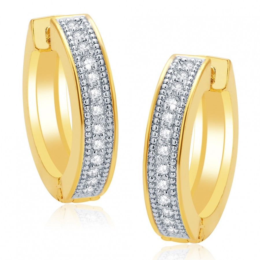 Buy Pissara Fancy Gold And Rhodium Plated CZ Hoops For Women Online
