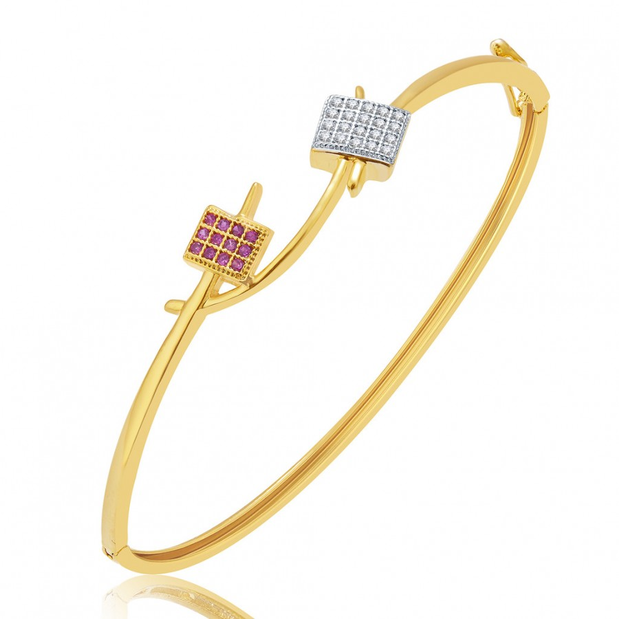 Buy Pissara Imposing Gold And Rhodium Plated CZ Kada For Women Online