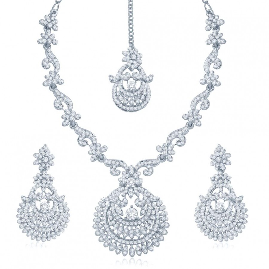 Buy Sukkhi Exotic Rhodium Plated Australian Diamond Stone Studded Necklace Set Online