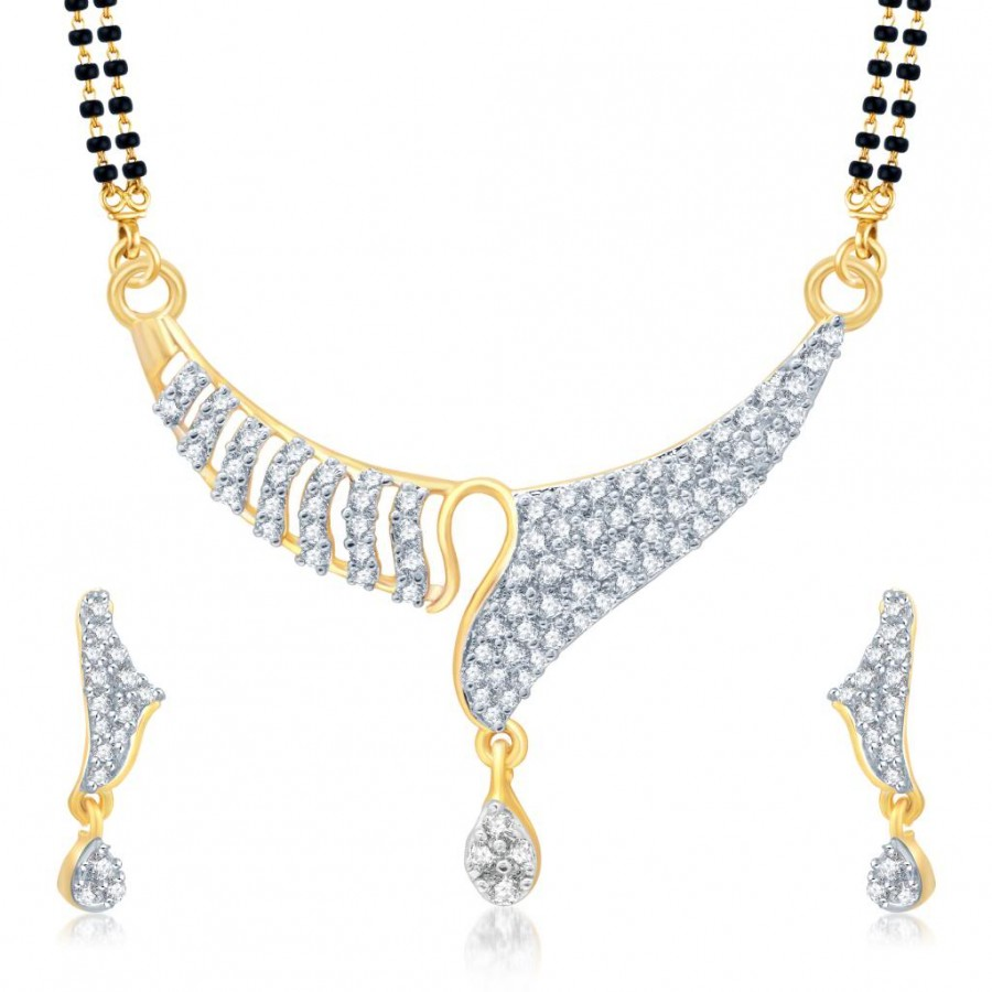Buy Pissara Amazing Gold and Rhodium Plated Cubic Zirconia Stone Studded Mangalsutra Set Online