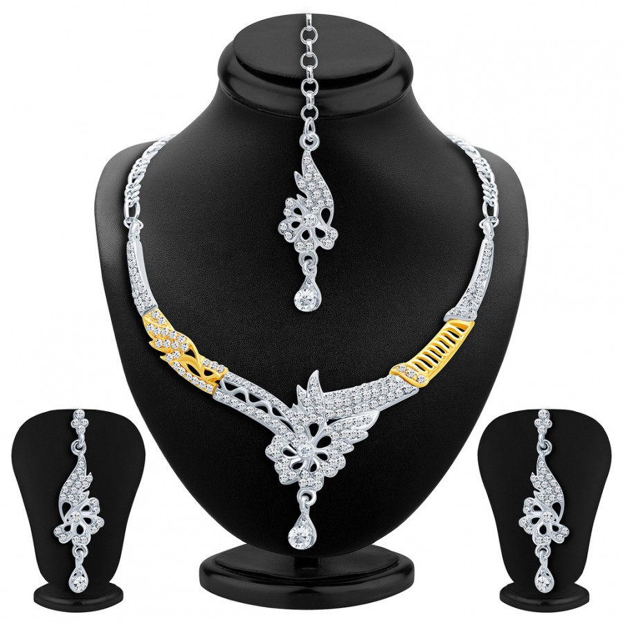 Buy Sukkhi Intricately Gold and Rhodium Plated AD Necklace Set Online