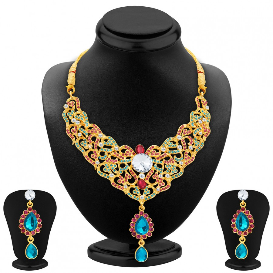 Buy Sukkhi Fine Gold Plated AD Necklace Set For Women Online