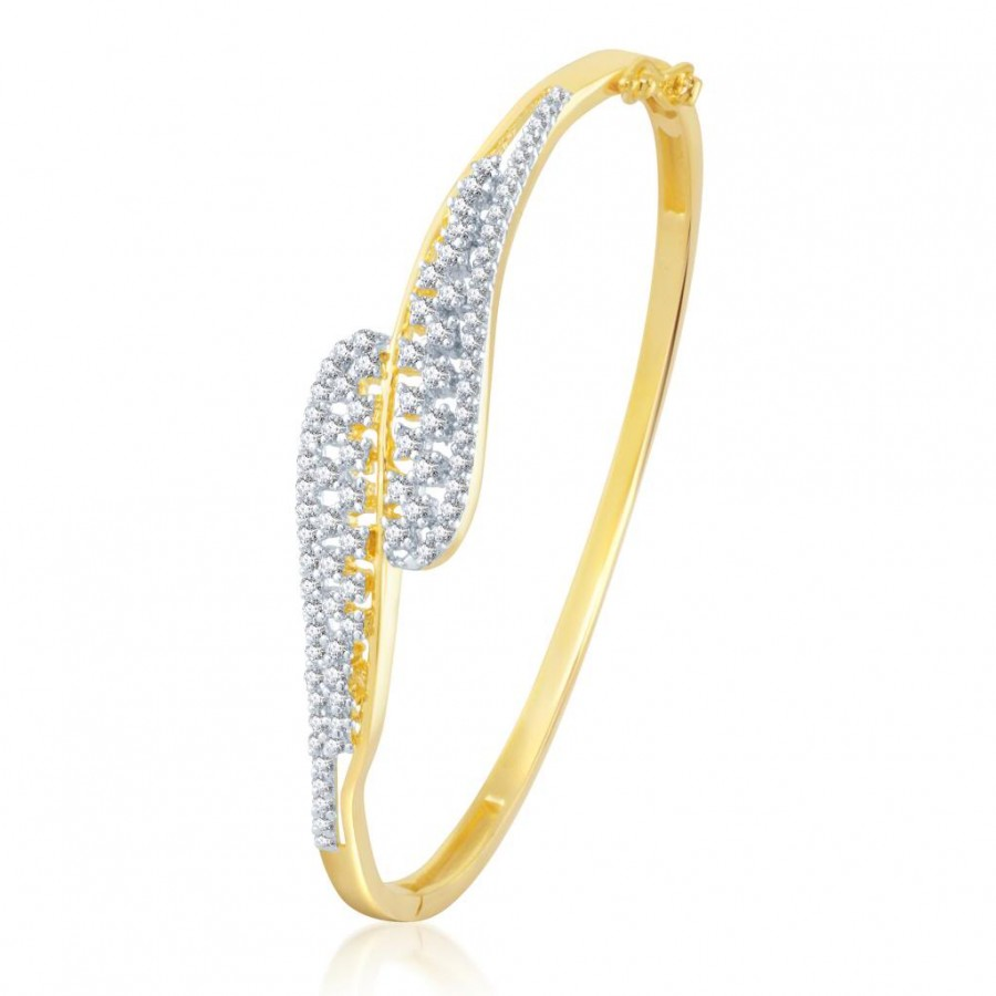 Buy Pissara Enchanting Gold and Rhodium Plated Cubic Zirconia Stone Studded Kada Online