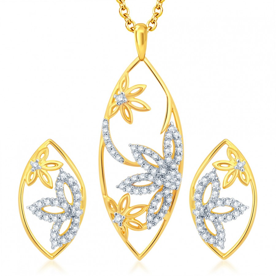 Buy Pissara Intricately Gold and Rhodium Plated CZ Pendant Set Online