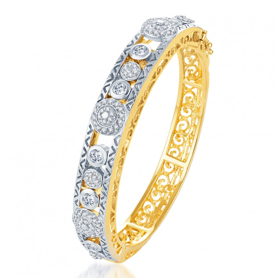 Buy Pissara Eye-Catchy Gold and Rodium plated CZ Kada Online