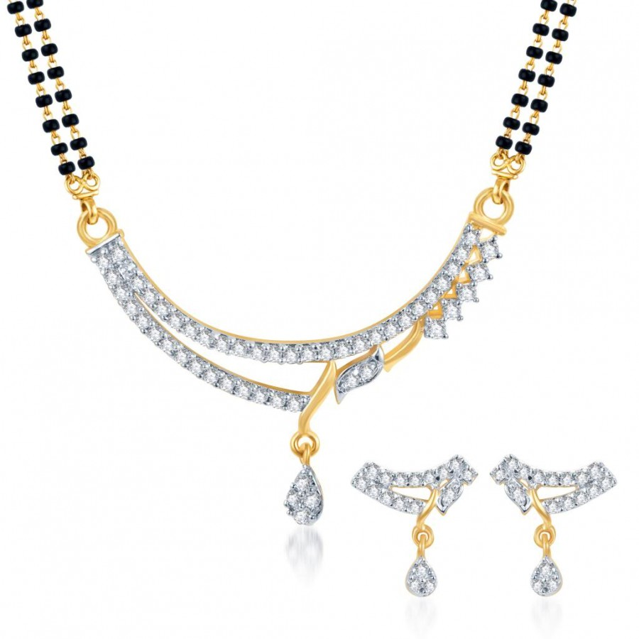 Buy Pissara Amazing CZ Gold and Rhodium Plated Mangalsutra Set Online