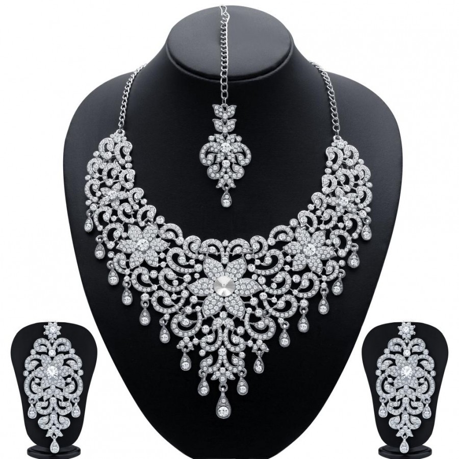 Buy Sukkhi Traditionally Rhodium Plated AD Bridal Necklace Set for Women Online