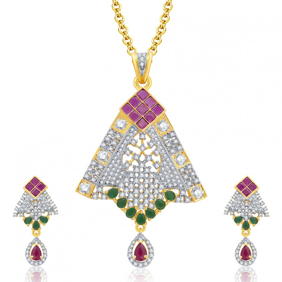 Buy Pissara Feminine Gold And Rhodium Plated Ruby CZ Pendant Set For Women Online