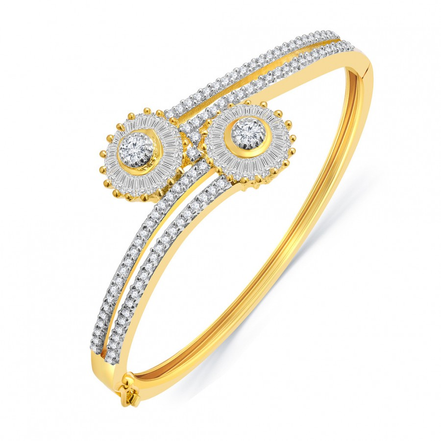 Buy Pissara Glossy Gold And Rhodium Plated CZ Kada For Women Online