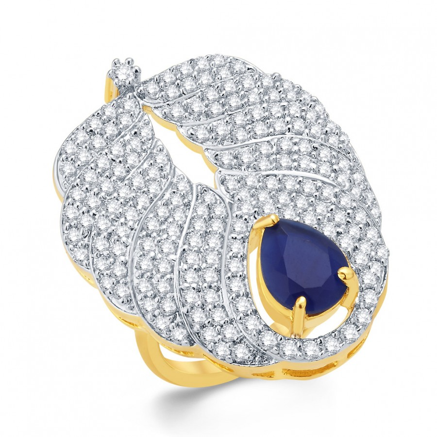Buy Pissara Divine Gold And Rhodium Plated CZ Ring For Women Online