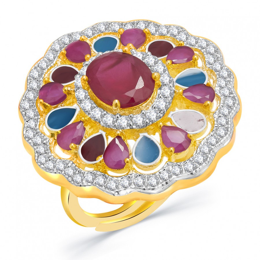 Buy Pissara Majestic Gold And Rhodium Plated Ruby CZ Ring For Women Online