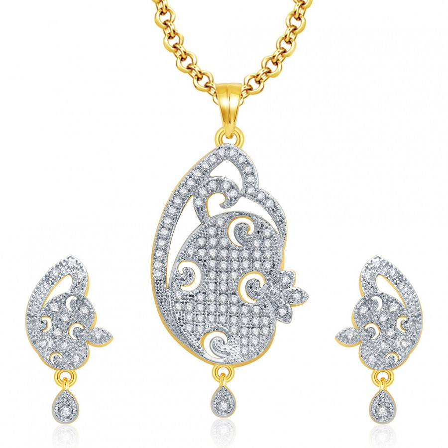 Buy Pissara Wondrous Gold And Rhodium Plated CZ Pendant Set For Women Online