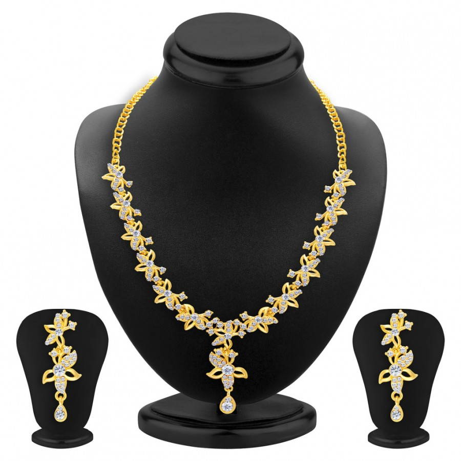 Buy Sukkhi Pretty Gold Plated AD Necklace Set For Women Online