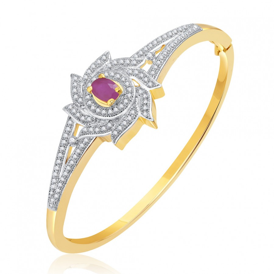 Buy Pissara Flawless Gold And Rhodium Plated Ruby CZ Kada For Women Online