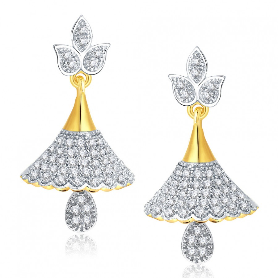 Buy Pissara Shimmering Gold And Rhodium Plated CZ Jhumki For Women Online