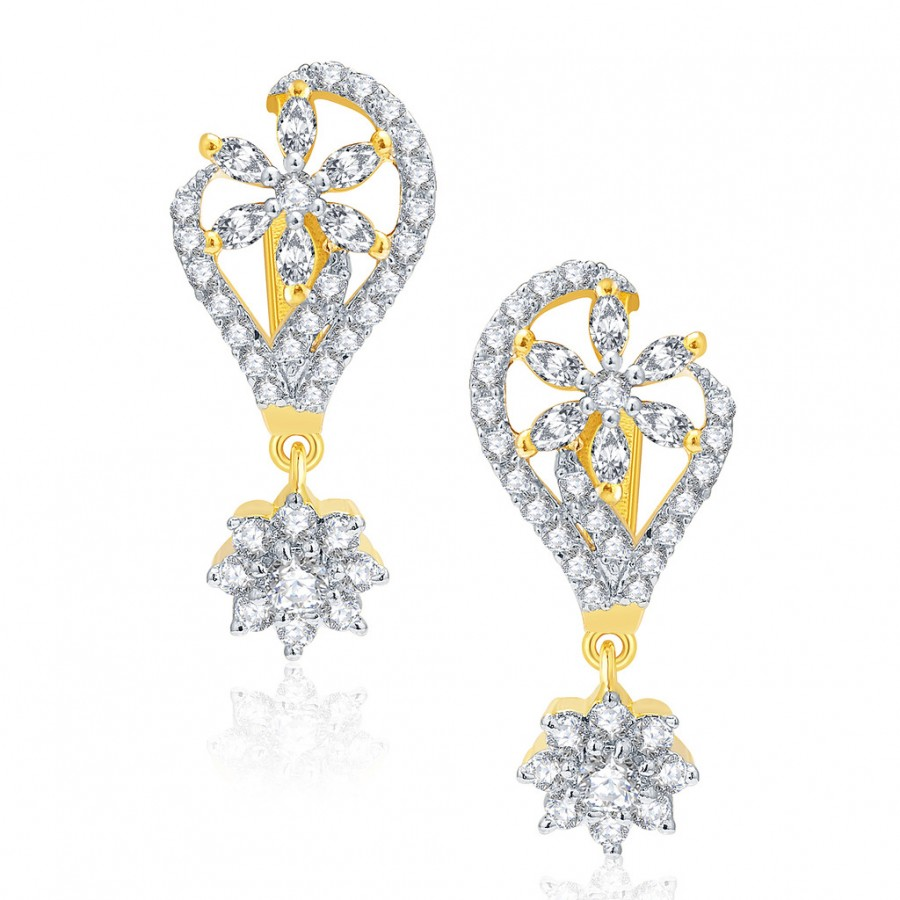 Buy Pissara Stunning Gold And Rhodium Plated CZ Earrings For Women Online