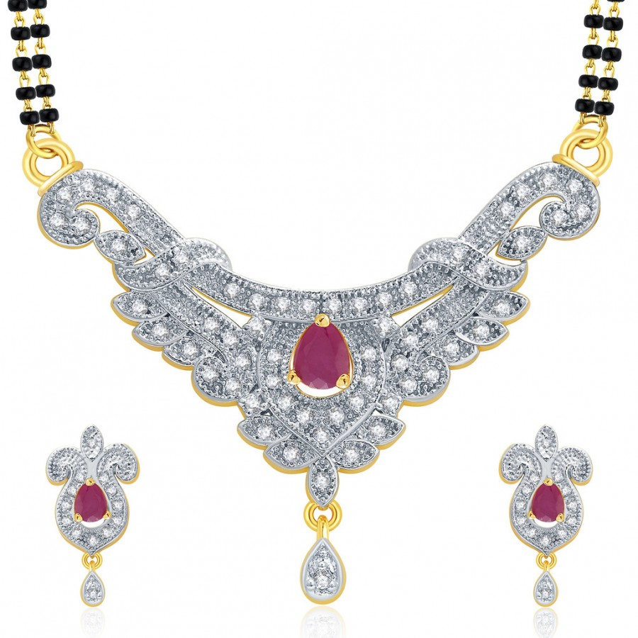 Buy Pissara Sarene Gold And Rhodium Plated Ruby CZ Mangalasutra Set For Women Online