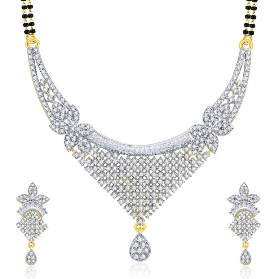 Buy Pissara Jovia Gold And Rhodium Plated CZ Mangalasutra Set For Women Online