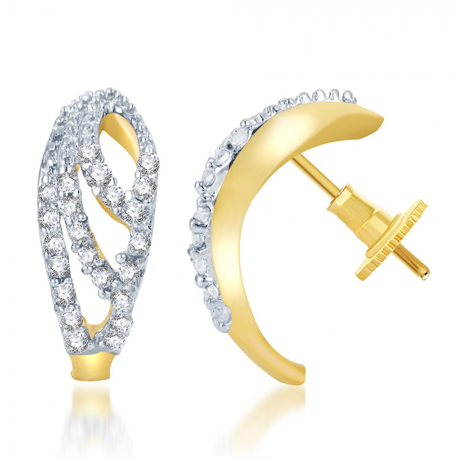 Buy Pissara Enchanting Gold and Rhodium Plated CZ Earring Online