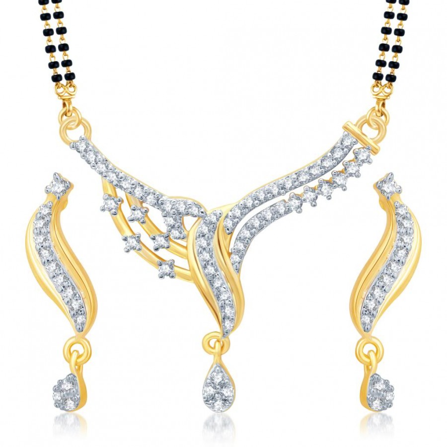 Buy Pissara Dazzling Gold and Rhodium Plated Cubic Zirconia Stone Studded Mangalsutra Set Online