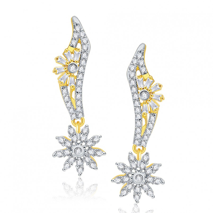 Buy Pissara Whimsical Gold And Rhodium Plated CZ Earrings For Women Online
